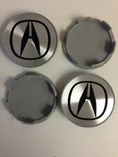 Set of 4 HONDA Face 70mm Clip 65mm ALLOY WHEELS CENTER CAPS SET Silver / Black