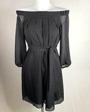 Claudie Pierlot * negro con textura Floaty con cinturón del vestido del hombro Tamaño 38/10 *