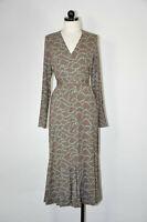 Boden Paris Brown Blue Vneck Jersey Knit Long Sleeve Midi Wrap Dress Women 12L