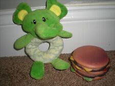 Dog Toy Elephant Plush Crinkly & Rubber Hamburger NEW