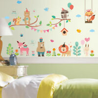 Forest Zoo Jungle Wild Animals Wall Sticker Christmas Shop Store Window Decal E&