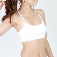 Women Cotton Exercise Yoga Workout cami Sports Bra Padded ST_White