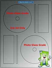200 PHOTO GLOSSY Ink Jet Labels! Fits Full Memorex 100 Sheets! CD DVD High Gloss