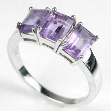 Sterling Silver 925 Emerald Cut Genuine Natural Amethyst Ring Size R (US 8.75)