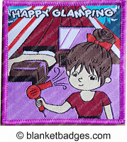 1 Happy glamping badge girl guide brownie camping blanket patch patches badges