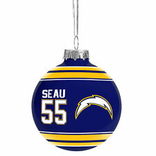 San Diego Chargers Junior Seau #55 NFL Legends Glass Christmas Ornament 2 5/8""