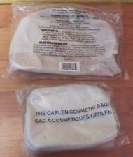 Avon The Carlen Cosmetic Bag Gold Double Zippers + Mesh  Makeup Bag Sealed
