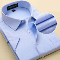 New Men's Formal Slim Casual Business Short Sleeve Luxury Dress Shirts TSD109