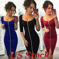 Women Sexy Bodycon Zipper Mini Dress Tight Skirt Cocktail Party Evening Gown US