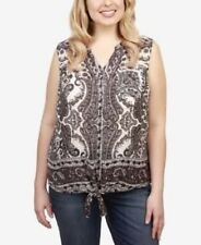 Lucky Brand Trendy Plus Size Printed Tie-Hem Top - Black 3X