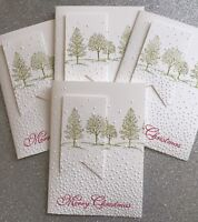 Bulk 4  White Christmas Trees handmade cards - Stampin Up