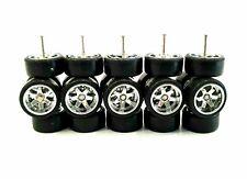 5 sets 6 Spoke TE37 Chrome long axle fit 1:64 hot wheels rubber tires NEW 2019