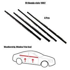 4x Weatherstrip ASSY Window Trim Seal Fit Honda Civic 1992 Black Set