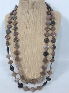 Statement Jay King DTR sterling Silver 925 Grey Stone 2 Strands necklace