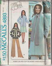 Vintage 70s McCalls Sewing Pattern 4893 Misses Coat Jacket Hood Pants Size 14-16