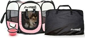 Pet4Life Dog / Puppy Playpen. With carrying case & food dish. Pink.