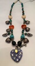 Vintage Heart Charm Necklace W/ Turquoise And Assorted Glass & Stone 22""