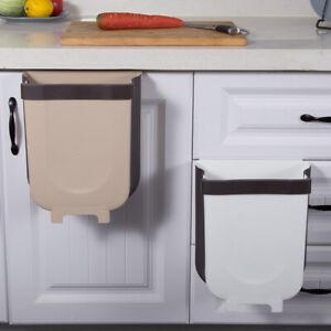 5L Wall Mounted Folding Waste Bin Kitchen Cabinet Door Hanging Trash Bin Gar*BI