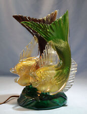 Italian Murano Seguso Vetri d'Arte Ruby & Green Glass Double Fish Figure Lamp