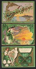 IRELAND US 1900 FOUR VINTAGE POST CARDS ST PATRICK'S DAY UNCLE SAM & IRISH LADY