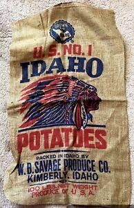 Vintage NOS WB Savage Produce Idaho Potatoes Burlap Bag Native American Logo