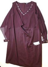c3bb0b5bf35 S.L. Fashions Women s Plus Size Scuba   Chiffon Cold Shoulder Dress Fig ...