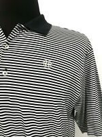 Peter Millar Golf Shirt Polo Men's Large Course Logo Cotton Black Micro Stripe