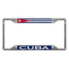 Cuba Flag Country Chrome License Plate Frame Tag Holder Four Holes