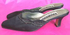 Roland Cartier UK4.5 EU37.5 black satin beaded mules/sandals