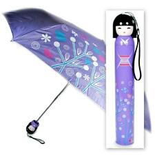 KOKESHI DOLL UMBRELLA Purple Folding w Hard Case Geisha Girl Japanese Lady China