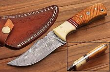 CUSTOM HAND MADE DAMASCUS STEEL HUNTING KNIFE/CAMEL BONE & BURL WOOD HANDLE
