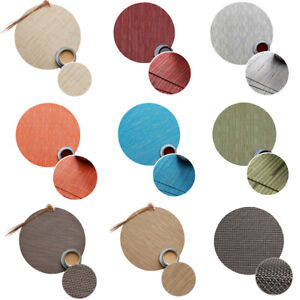 Round Woven PVC Placemats Tableware Mats Bowl Cup Coaster Non-Slip Pads