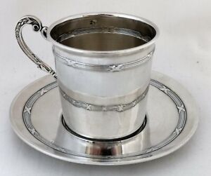 Victorian French Silver Cup And Saucer Mercury Mark Number One