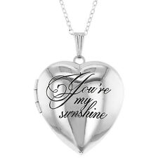 Silver Tone Love Family Photo Locket Heart Pendant Necklace 19""