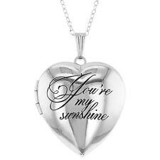 "Silver Tone Love Family Photo Locket Heart Pendant Necklace 19"""