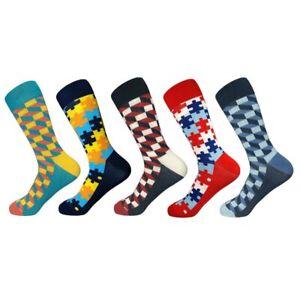 5 Pair Checker Plaid Jigsaw Stripe Mix Pattern Long Socks Unisex Casual Fashion