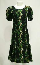 Vintage Shannon Marie Hawaiian Flowers Leaves Dress 100% Cotton Small