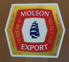 VINTAGE CANADIAN BEER LABEL - MOLSON BREWERY, EXPORT BEER 12 FL OZ