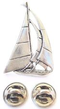 Yacht Handcrafted in Solid Pewter in Uk Lapel Pin Badge