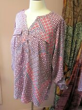 Croft & Barrow Plus 1X Multicolor Pink Geometric Polyester Tunic Shirt