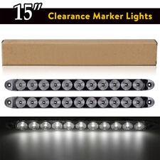 2PC White 15'' 11 LED Light Bar Stop Turn Tail Brake Light Truck Trailer