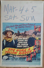 SHE WORE A YELLOW RIBBON WESTERN POSTER, JOHN WAYNE WINDOW CARD
