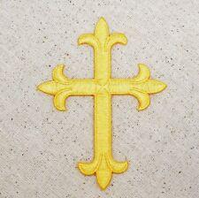 "Iron On Applique Embroidered Patch - Religious - Fleur de lis Cross YELLOW 4"""