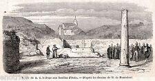 OSTIA ANTICA: Papa Pio IX Visita gli Scavi. Roma.Agro Romano. Stampa Antica.1860