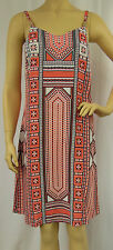 Rockmans Coral Tribal Print Viscose Strappy Casual Sun Dress Size 8 BNWOT # Z23