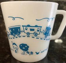 "Vintage White Glass Pyrex Child Coffee Mug Cup Blue Train USA 10 Oz. ""Toot-Toot"""