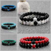 2X 8mm Distance Bracelets Lovers Couples Matching Gift Matte Agate Bead Stone HS