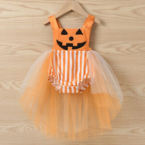 Infant Baby Girls Halloween Pumpkin Striped Sleeveless Romper Tutu Tulle Dress
