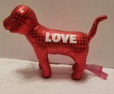 "Victoria's Secret ""Pink"" Red Metallic LOVE  Dog Stuffed Animal Polka Dots EUC"