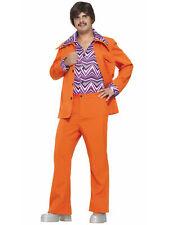 70s Leisure Suit Disco Safari 1960s 1970s Orange Retro Dress Up Mens Costume